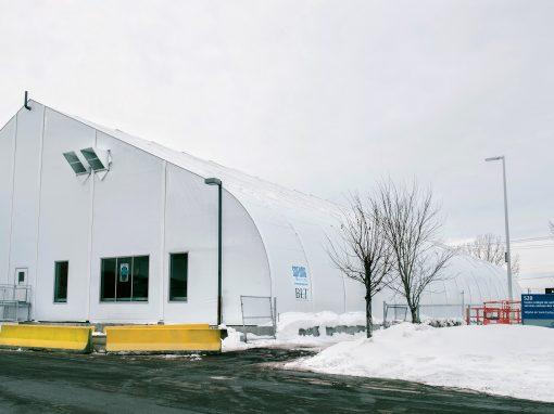 Construction du bâtiment temporaire annexé à l'Hôpital de Saint-Eustache
